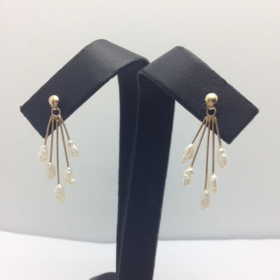 1.53g 14K Yellow, Baroque Pearl Earrings