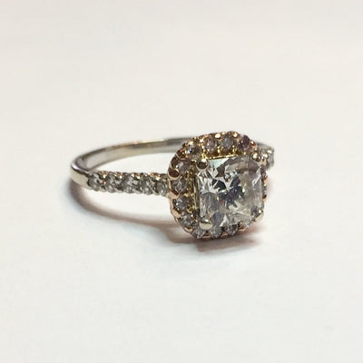 3.08g 14k Rose and White Gold 1.14ct I1 I Diamond Ring