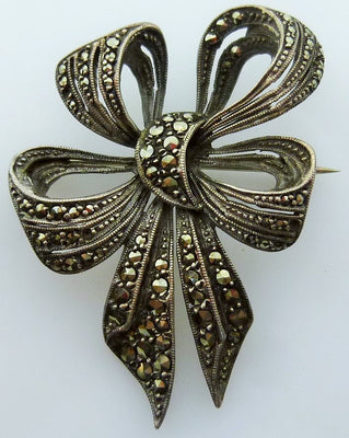 Vintage German sterling silver brooch marcasites