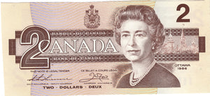 1986 $2 Note Bank of Canada - Sequential