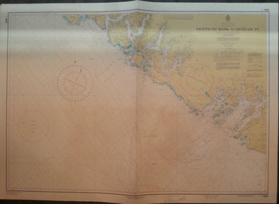 Nautical Chart / Map: Swiftsure Bank to Estevan Point, British Columbia.