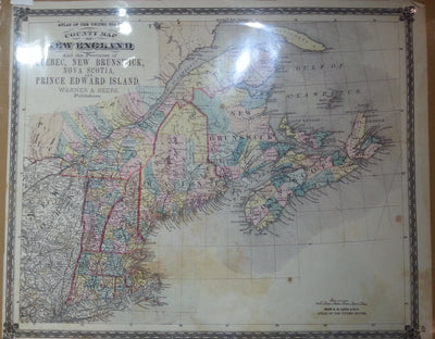County Map of New England and the Provinces of Quebec, New Brunswick, Nova Scotia, and Prince Edward Island. - Warner & Beers, 1876