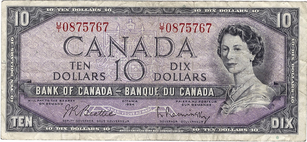 1954 $10 Note Bank of Canada - VG