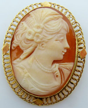 Vintage shell cameo 7.39g 14K yellow gold