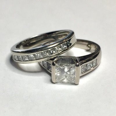 9.5g Palladium 1ct SI1 Princess Cut Diamond Engagement Set