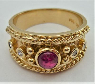 7.16g 14k Yellow Gold Cabochon Ruby Ring