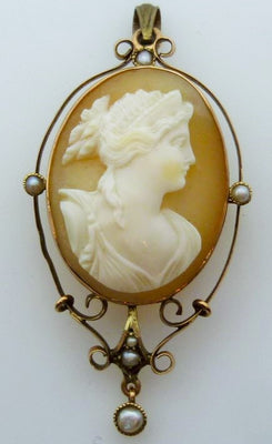Victorian shell cameo brooch pendant with seed pearls