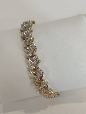 8.9g 10K Yellow gold 0.70cttw diamond I3 I-J Tennis bracelet 7.5'