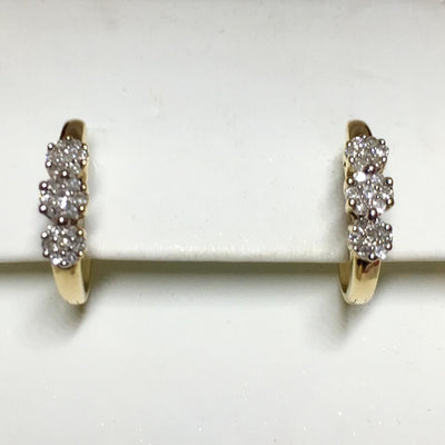 2.5g 14k Yellow Gold Diamond Cluster Earrings