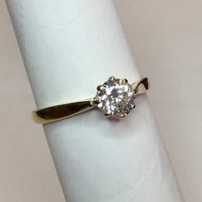2.4g 18k Yellow Gold .56ct SI2 G Engagement Ring