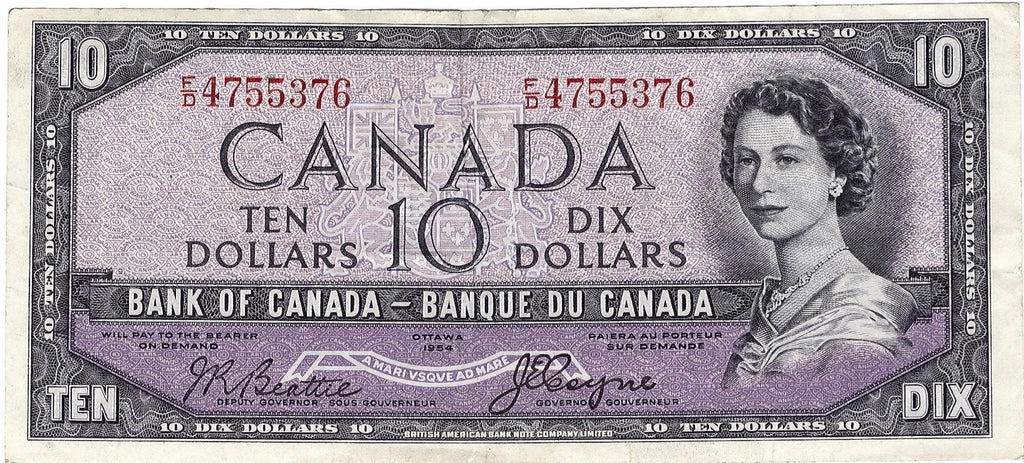 1954 $10 Note Bank of Canada - VG Devils Face