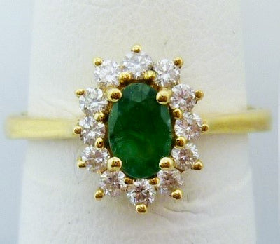 Ring 3.6g  18K yellow gold   0.30ct Emerald (Zambia)  0.40cttw melee