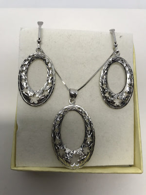White Gold Necklace and Earrings