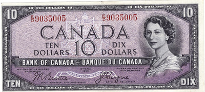 1954 $10 Note Bank of Canada - EF Devils Face