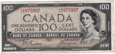 1954 $100 Note Bank of Canada - F Devils Face