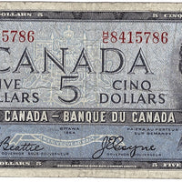 1954 $5 Note Bank of Canada - VG Devils Face