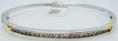 8.7g 10K 0.25cttw white gold bangle with diamonds