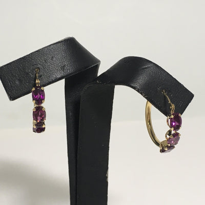 1.89g 14k Yellow gold with 3 stone purple Spinel hoop wire earrings