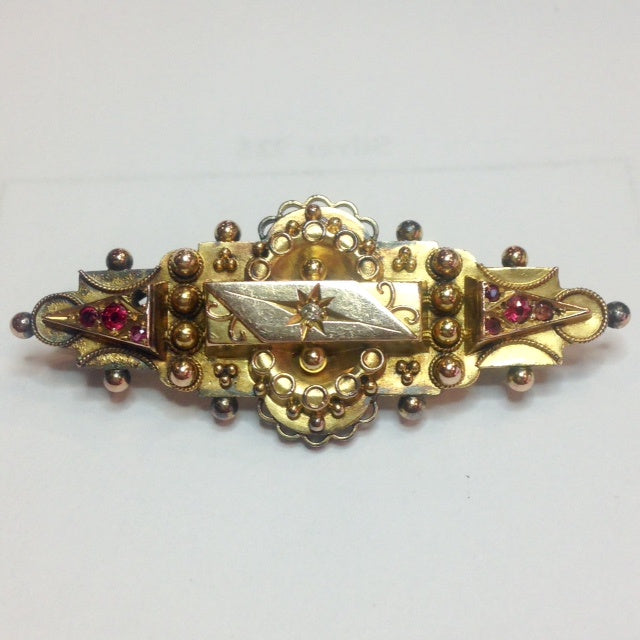 4.2g 9k Yellow Gold Ruby and Diamond Brooch
