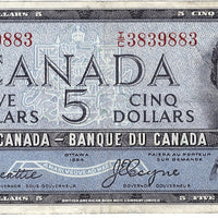 1954 $5 Note Bank of Canada - EF Devils Face
