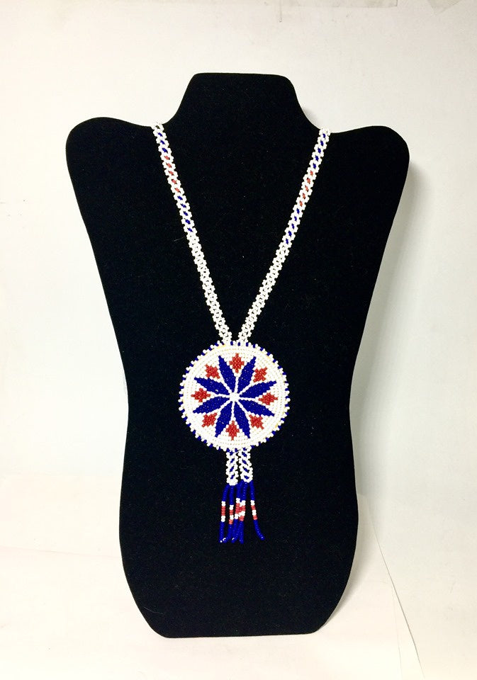 Whit, Blue, and Red Cree Beaded Necklace