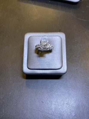 2.01ct Princess  Engagement Ring Set