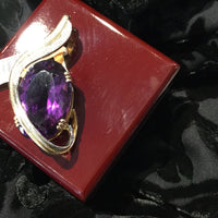 Pendant 20.12g 14K 40.0ct Amethyst and diamonds