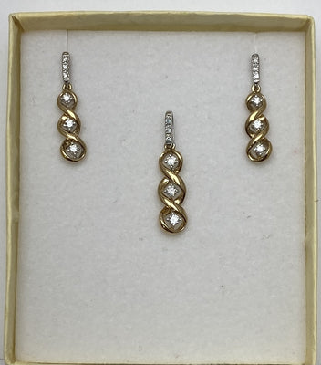 White and Yellow Gold Pendant and Earring Set