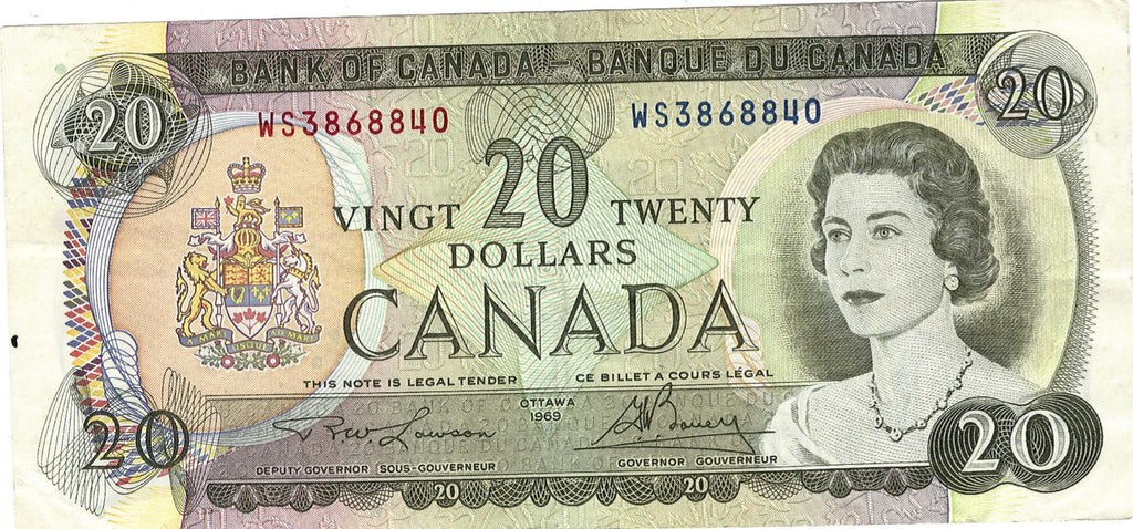 1969 $20 Note Back of Canada