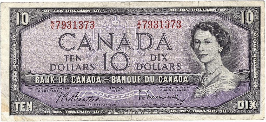 1954 $10 Note Bank of Canada - F