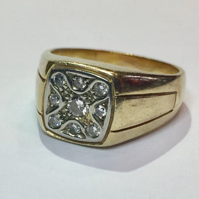 10.9g 14k Yellow Gold Men's Diamond Ring