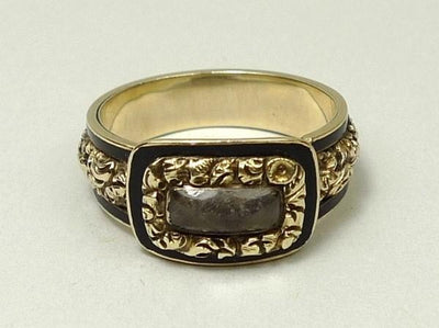 4.7g 18k Yellow Gold Georgian Mourning Ring