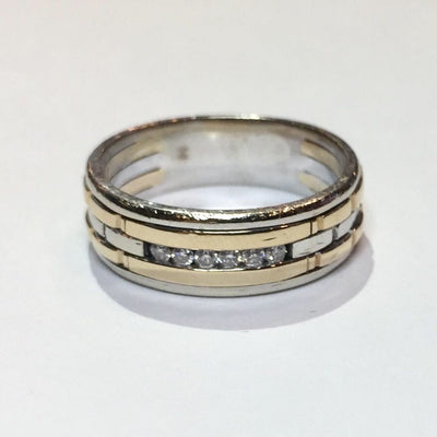 11.5g 14k Two-Tone Mens Gold Diamond Ring