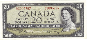 1954 $20 Note Bank of Canada - EF-AU