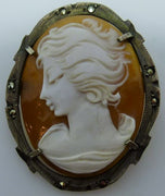 Vintage shell cameo brooch pendant  0.800 silver  Marcasites