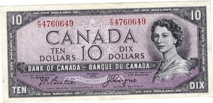 1954 $10 Note Bank of Canada - VF Devils Face