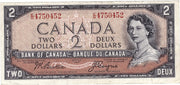 1954 $2 Note Bank of Canada - Devils Face