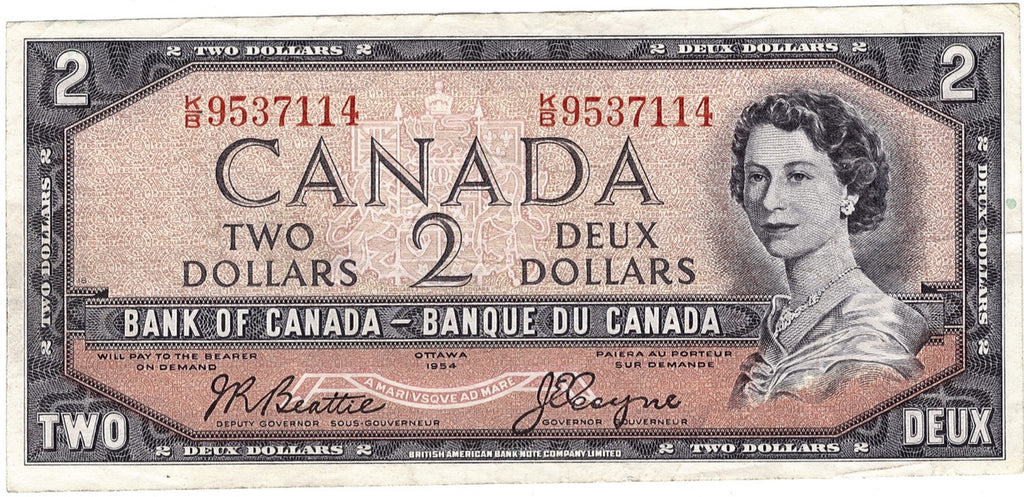 1954 $2 Note Bank of Canada - VF