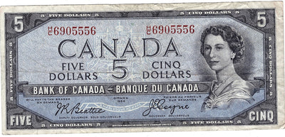 1954 $5 Note Bank of Canada - VF Devils Face