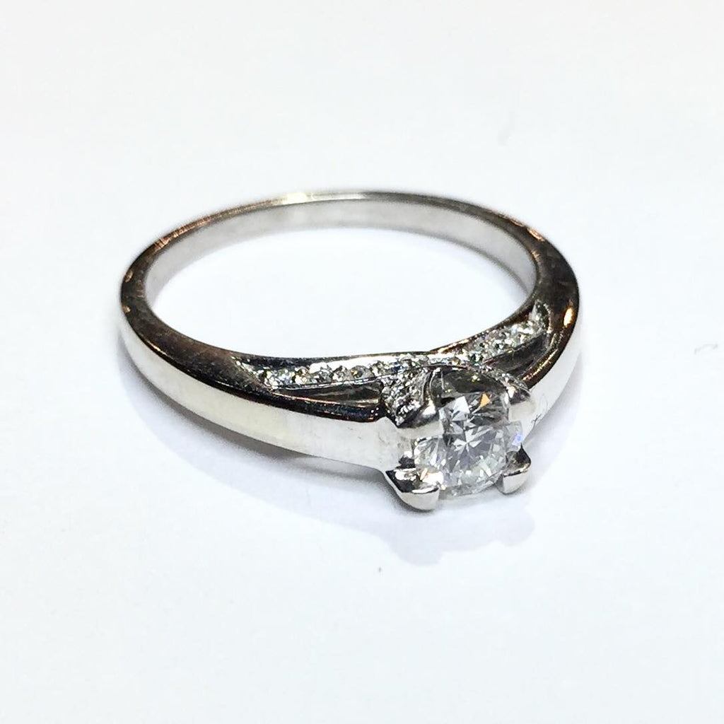 3g 14k White Gold .35ct SI2 G Diamond Engagement Ring
