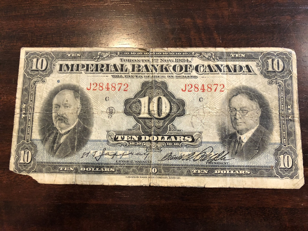 1934 Imperial Bank Of Canada $10 VG