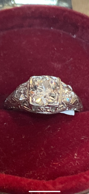 .90ct Old European Cut Diamond Platinum Ring