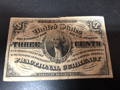 March 3, 1863 Three Cents USA Currency Note