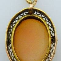 Vintage shell cameo pendant 1.83g 10K yellow gold