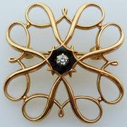 Vintage rose gold enamel diamond brooch