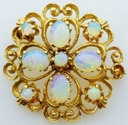 Vintage crystal opal brooch yellow gold