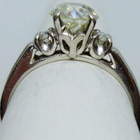 Ring 4.20g Platinum  1.05ct Old European cut  SI2 I  0.16cttw melee
