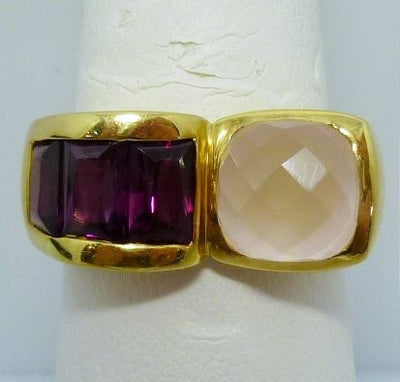 Ring 8.63g 18K Yellow gold   3.00ct Rose quartz  1.50cttw Rhodolite garnet