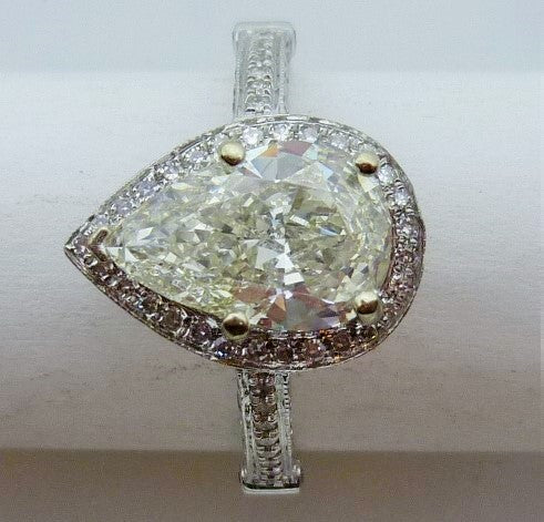 Ring 3.63g 14K white gold  1.90ct Pear VS1 J  GIA 2151043377  1.00cttw single cut diamonds