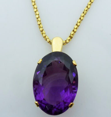 13g 14K yellow gold 40ct Amethyst Pendant